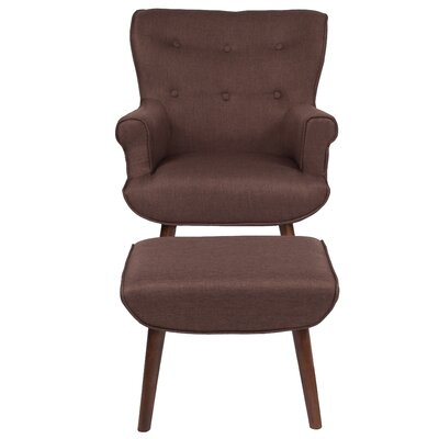 John Wingback Chair and Ottoman Upholstery: Brown