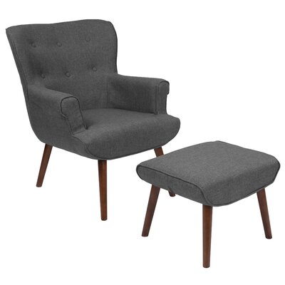 John Wingback Chair and Ottoman Upholstery: Dark Gray