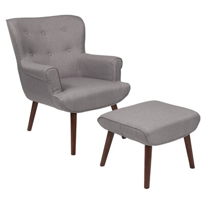 John Wingback Chair and Ottoman Upholstery: Light Gray