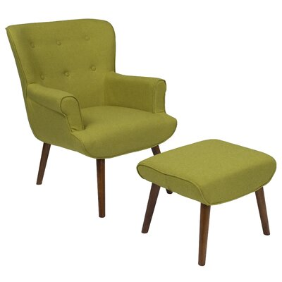 John Wingback Chair and Ottoman Upholstery: Green