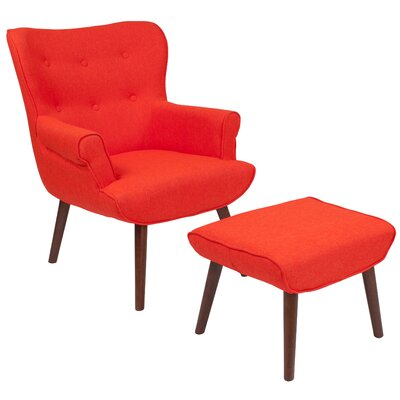 John Wingback Chair and Ottoman Upholstery: Orange