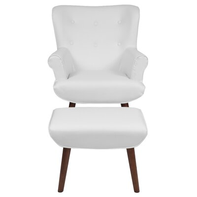 John Wingback Chair and Ottoman Upholstery: White