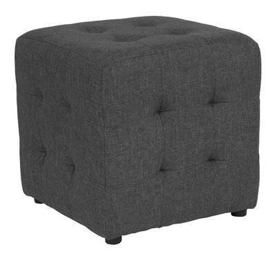Rayl Tufted Upholstered Cube Ottoman Upholstery: Dark Gray