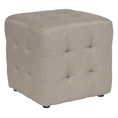 Rayl Tufted Upholstered Cube Ottoman Upholstery: Beige
