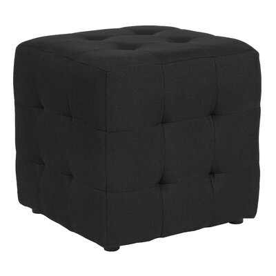 Rayl Tufted Upholstered Cube Ottoman Upholstery: Black