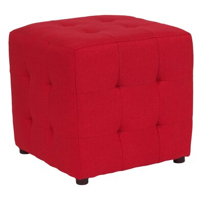 Rayl Tufted Upholstered Cube Ottoman Upholstery: Red