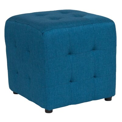 Rayl Tufted Upholstered Cube Ottoman Upholstery: Blue
