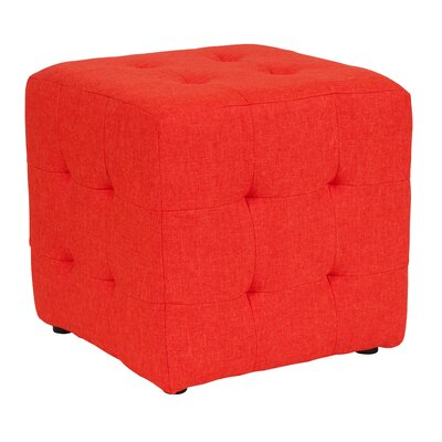 Rayl Tufted Upholstered Cube Ottoman Upholstery: Orange