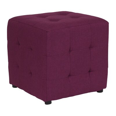 Rayl Tufted Upholstered Cube Ottoman Upholstery: Purple