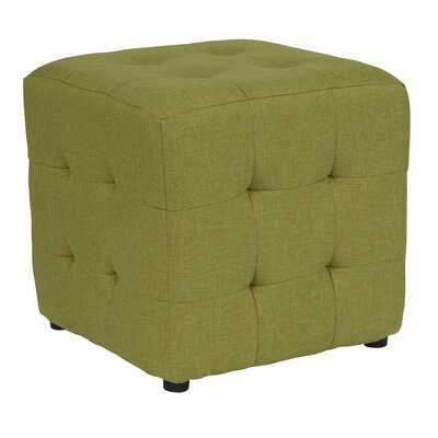 Rayl Tufted Upholstered Cube Ottoman Upholstery: Green