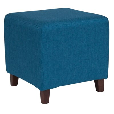 Tade Upholstered Cube Ottoman Upholstery: Blue