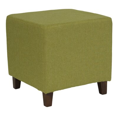 Tade Upholstered Cube Ottoman Upholstery: Green