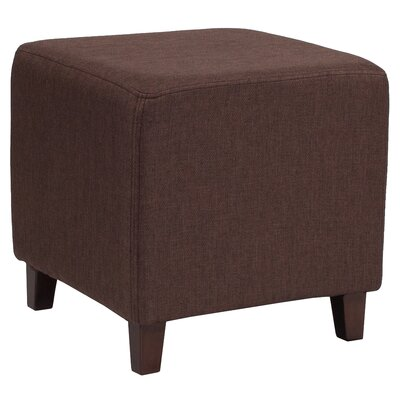 Tade Upholstered Cube Ottoman Upholstery: Brown