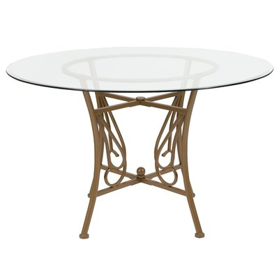 Corkey North Dining Table Base Color / Top Color: Gold/Clear, Size: 29 H x 48 W x 48 L