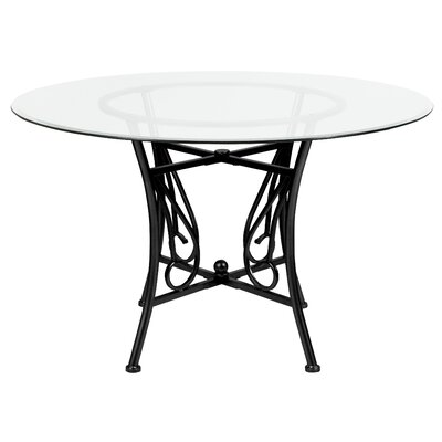 Corkey North Dining Table Base Color / Top Color: Black/Clear, Size: 29 H x 42 W x 42 L