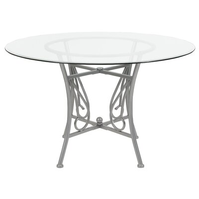 Corkey North Dining Table Base Color / Top Color: Silver/Clear, Size: 29