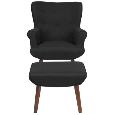 John Wingback Chair and Ottoman Upholstery: Black