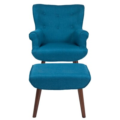 John Wingback Chair and Ottoman Upholstery: Blue