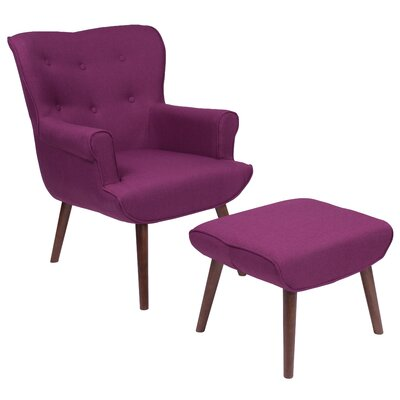 John Wingback Chair and Ottoman Upholstery: Purple