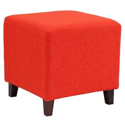 Tade Upholstered Cube Ottoman Upholstery: Orange