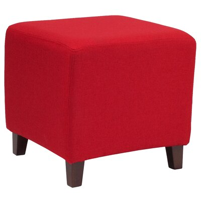 Tade Upholstered Cube Ottoman Upholstery: Red