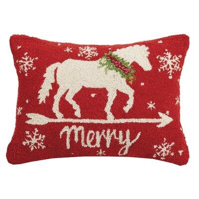 Finlay Horse Merry Christmas Hook Wool Lumbar Pillow