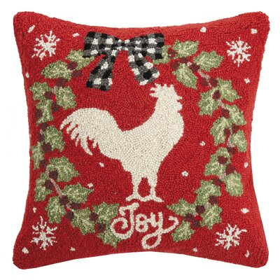 Finklea Rooster Joy Wreath Hook Wool Throw Pillow