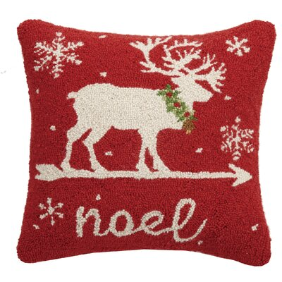 Fitch Reindeer Noel Hook Wool Throw Pillow