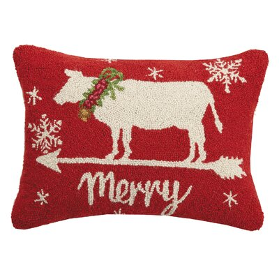 Fitzwater Cow Merry Christmas House Hook Wool Lumbar Pillow