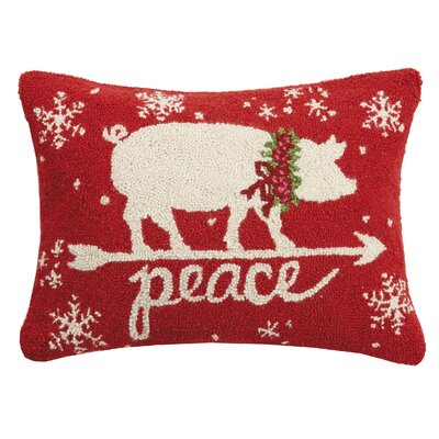 Flanigan Peace on Earth Pig Hook Wool Lumbar Pillow