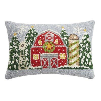 Finke Christmas Farm House Hook Wool Lumbar Pillow