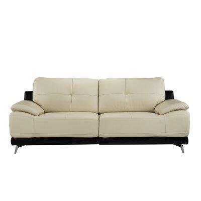 Soelberg Living Room Leather Sofa Upholstery: Beige/Black