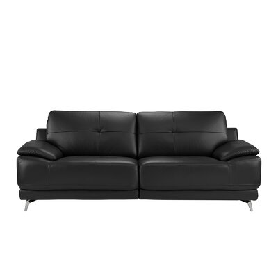 Soelberg Living Room Leather Sofa Upholstery: Black