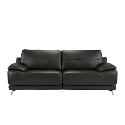 Soelberg Living Room Leather Sofa Upholstery: Gray
