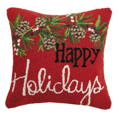 Martinek Happy Holidays Hook Wool Throw Pillow