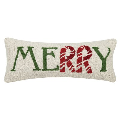 Martello Merry Candy Cane Hook Wool Lumbar Pillow