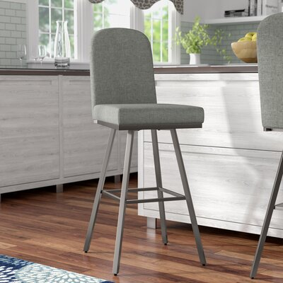 Mesic 26 Swivel Bar Stool Upholstery: Glossy Grey/Medium Grey