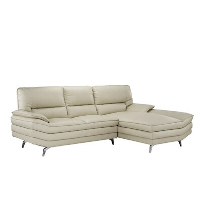 Ringwood Leather L Shape Sectional Upholstery: Beige