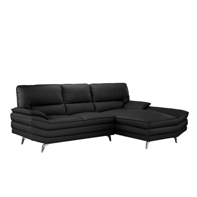 Ringwood Leather L Shape Sectional Upholstery: Black