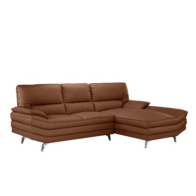 Ringwood Leather L Shape Sectional Upholstery: Camel