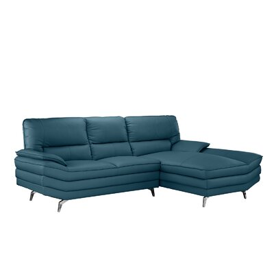 Ringwood Leather L Shape Sectional Upholstery: Teal