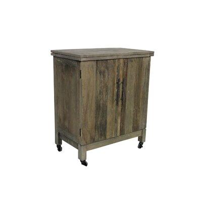 Solon Butler Bar 2-Door Folding Top Kitchen Cart with Solid Wood