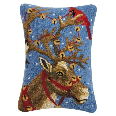Marzano Reindeer and Bird Hook Wool Lumbar Pillow