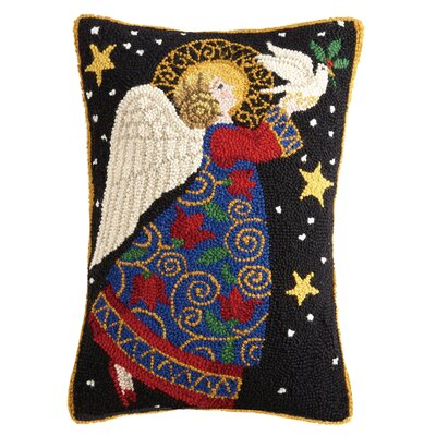 Marvine Angel and Dove Hook Wool Lumbar Pillow