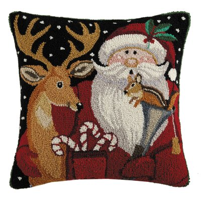 Marydel Woodland Santa with Deer Hook Wool Throw Pillow