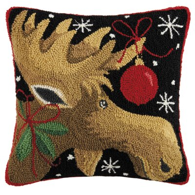 Marx Moose with Ornament Hook Wool Throw Pillow