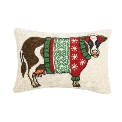Mascher Cow in Holiday Sweater Hook Wool Lumbar Pillow