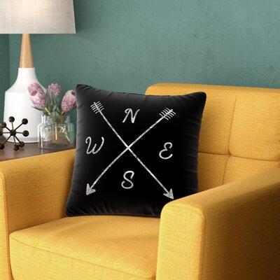 Draper Cardinal Direction B Vintage Outdoor Throw Pillow Size: 16 H x 16 W x 5 D, Color: Black