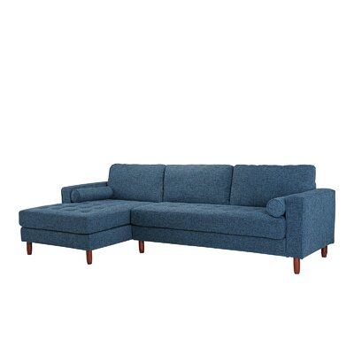 Kevin L-Shape Sectional Upholstery: Dark Blue