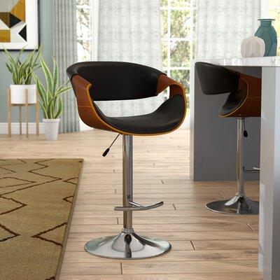 Alvin Adjustable Height Swivel Bar Stool Upholstery: Black
